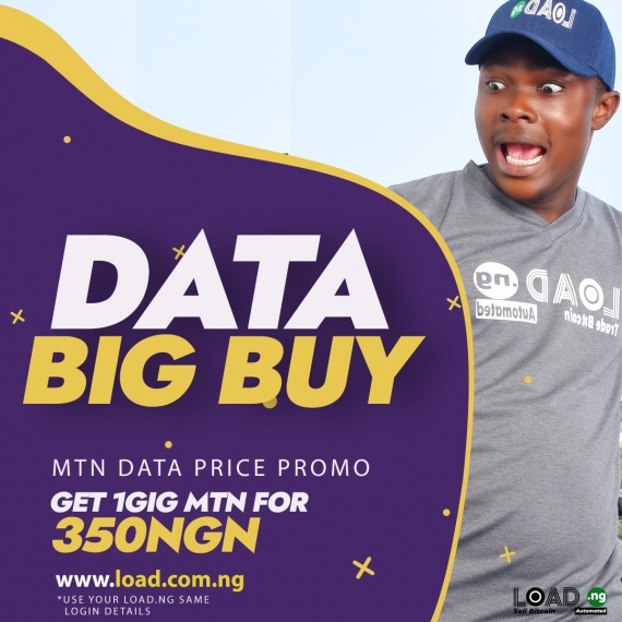 LoadNG Bills: MTN 1GIG Data Now 350NGN On Load.com.ng