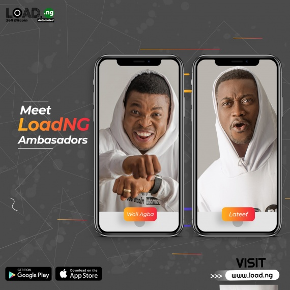 Techpoint Africa: Bitcoin to Naira automation platform, LoadNG signs Woli Agba and Lateef Adedimeji as brand ambassador